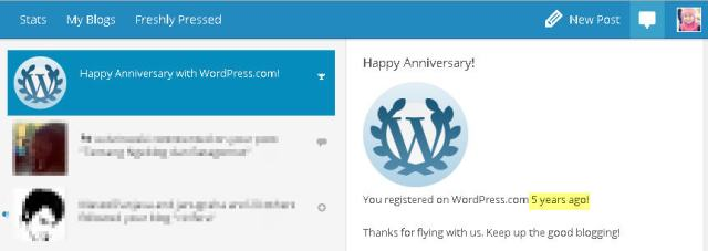 Happy 5th Anniversary My WordPress