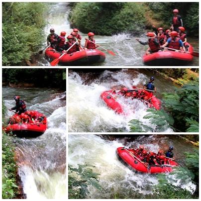 Arung jeram di sungai Palayangan Bandung