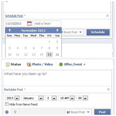 Facebook Schedule Post dan Backdate Post