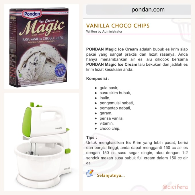 Resep Pondan Magic Ice Cream Vanilla Choco Chips