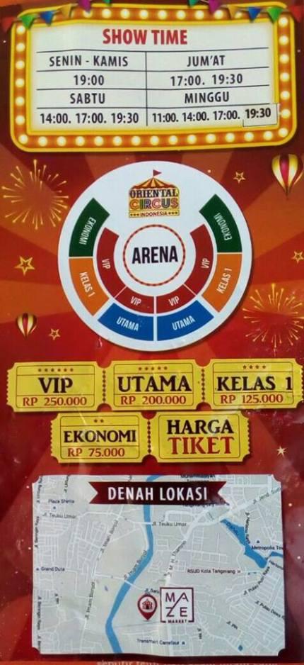 jadwal dan htm oriental circus indonesia di maze market tangerang