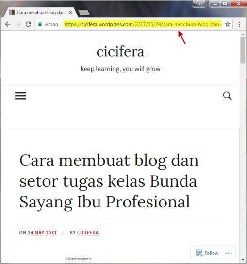 copy link url postingan