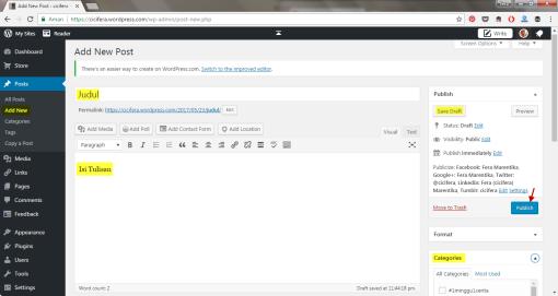 Posting Text di WordPress
